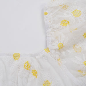 square neck daisy embroidered puff sleeved slim dress