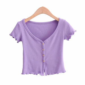 V neck falbala hem solid color slim knitted crop top