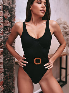 deep V solid color belted knitted one-piece swimsuit