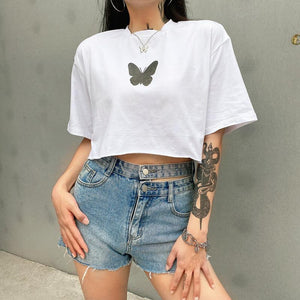 light-reflective butterfly printed loose crop t-shirt