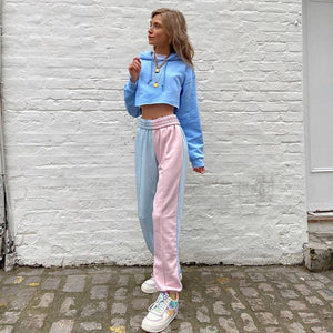 macaron color patch high waisted casual jogger sweat pants