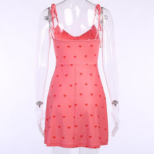strappy sweet heart printed cute mini holiday dress