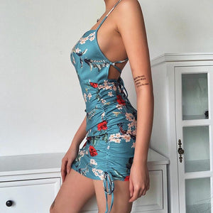 floral printed side drawstring back criss-cross slim bodycon dress