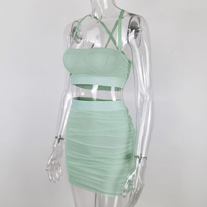 solid color strappy back cross pleated 2-pieces dress women set