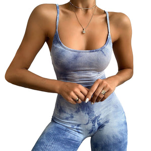 tie-dye strappy backless knitted slim romper
