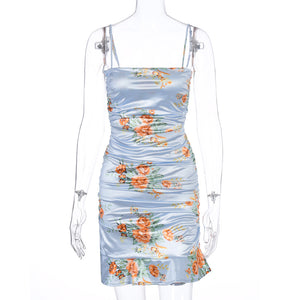 falbala hem floral printed strappy slim dress