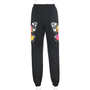 colorful butterfly printed high waisted jogger sweat pants