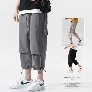 solid color drawstring men cropped pants