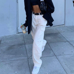 pure white high waisted cargo jeans pants