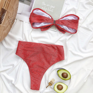 glitter strapless front big bowknot 2 pieces bikini set