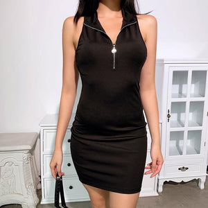 sleeveless turn-down collar front zipper bodycon dress