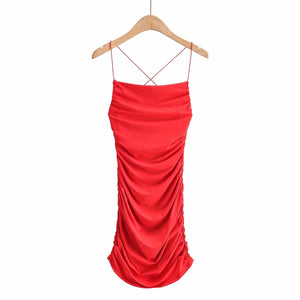 elastic straps solid color backless slim bodycon dress