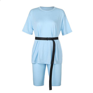 solid color loose belted t-shirt shorts home leisure wear women set