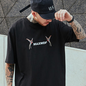 swallow embroidered o neck men t-shirt