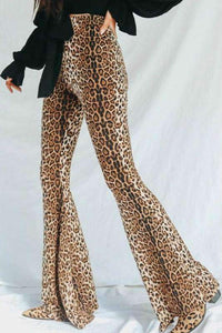 high waisted leopard bell-bottoms flare pants