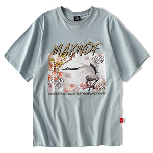 chinese style crane short sleeve man t-shirt hiphop loose half sleeve