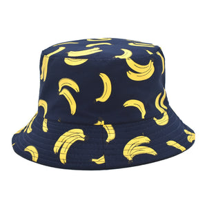 cow / banana printed double faced flat top sun hat