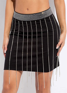 sparkling rhinestone studded tassels high waisted skirt