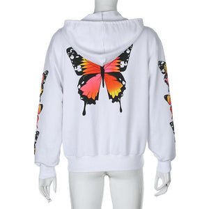 butterfly printed sleeved hooded sweatshirt cardigan coat