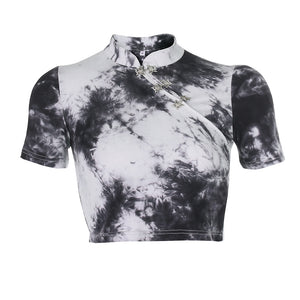 butterfly buckles tie-dye Chinoiserie crop top