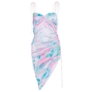 irregular tie-dye colorful lace-up straps backless slim dress