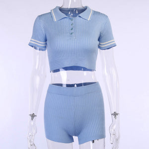 knitted turn-down collar crop top slim shorts women set