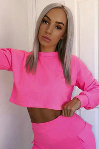 simple neon color crewneck oversized cropped sweatshirt