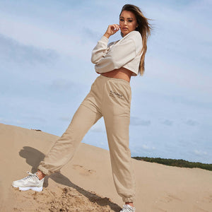letters printed elastic waisted jogger sweat pants