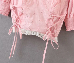 sweet pink retro bandaged puff sleeved lace patchwork crop top