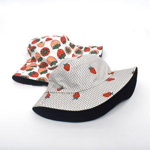 avocado / strawberry printed double faced flat top sun hat
