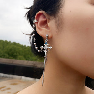 fashion cross pendant pearls studded tassel chain earring