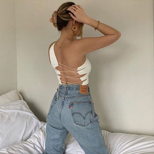 one-shoulder-off back criss-cross hollow out slim crop top