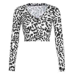 cow printed v neck long sleeved cardigan slim crop top
