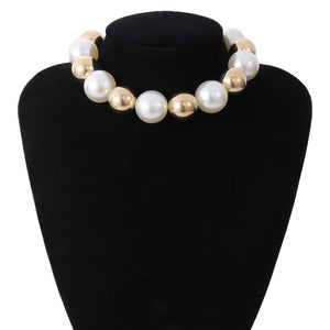 hip-hop metal mixed with imitation pearls choker necklace