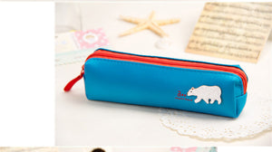 cartoon leather zipper pencil case