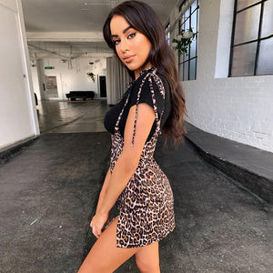 leopard printed side slit lace-up suspender skirt