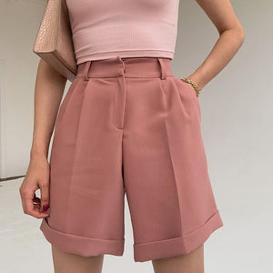 solid color high waisted turnup suit shorts