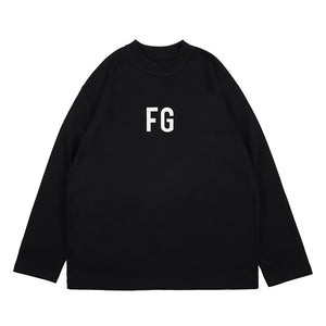 'FG' printed simple loose long sleeved sweatshirt