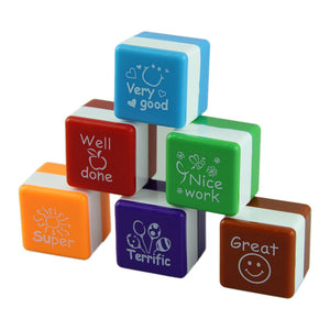 teacher evaluation square stamps-set of 6