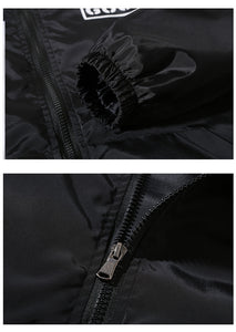 solid color letter printed casual zipper coat