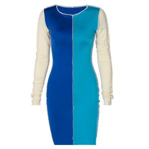 o-neck two color blocking long sleeved slim mini dress