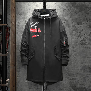 medium - length hooded print zip-up coat