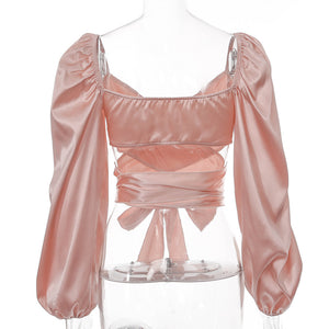 satin solid color deep V neck strapless lace slim cropped blouse