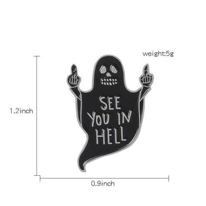 2 pieces halloween ghost/cat cartoon brooches
