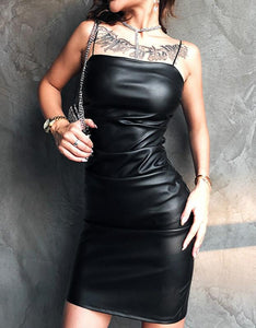 black pu strappy slim bodycon dress