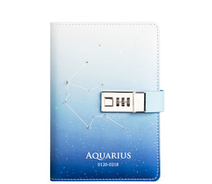 cute zodiac with metal password lock  leather notebook