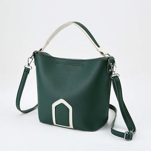 color clash PU hasp bucket bag