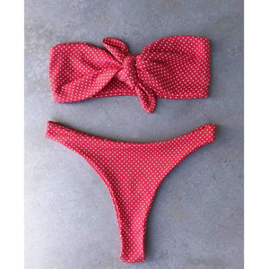 Cute Polka Dots Strapless 2 Pieces Bikini Set