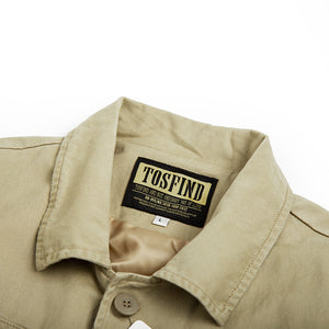 multi-pocket solid color turn down collar jacket coat
