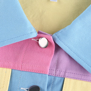 contrast color turn-down collar leisure jacket cardigan